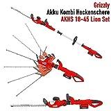 Grizzly Akku Kombi Heckenschere AKHS 18 Set, 2 Heckenscheren zu 1 Preis, mit herausnehmbaren Teleskopstiel, 2x 18 V Akku, 45 cm Messerlänge, 4 m Schnitthöhe