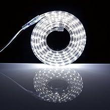 Tiras LED 1M con Interruptor, 220V IP67 Impermeable 5050 SMD, Blanco
