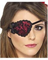 Smiffy's Pirate Eyepatch with Lace and Ties - Black/Red