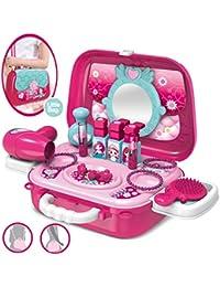 Dreamon Coffrets de Bijoux et Cosmétiques pour Enfants Filles Mallette Coiffure Jouet Cadeau pour Princesse,Rosa