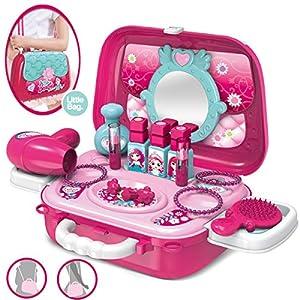 Dreamon Maletin De Belleza y peluqueria Juguete de joyería Set con Accesorios para niñas 3 años