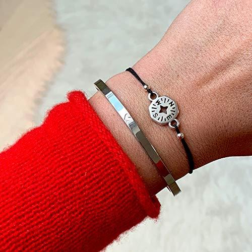 Imagen de selfma deje welry pulsera de plata brújula en negro banda größenverstellbares macramé brazo visillo mano fabricado alternativa