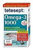 tetesept Omega-3 1000 - Seefisch- und Lachsöl Kapseln – Hochdosierte