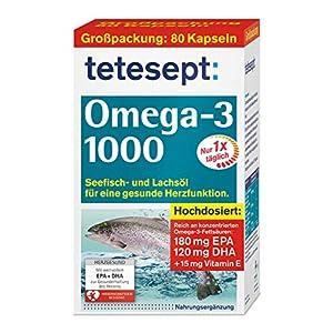 tetesept Omega-3 1000 – Seefisch- und Lachsöl Kapseln – Hochdosierte Omega 3 Fettsäuren DHA, EPA & Vitamin E – Unterstützung des Herz-Kreislauf-Systems – 1 x 80 Stück [Nahrungsergänzungsmittel]