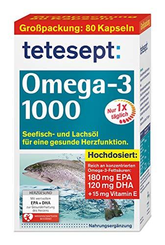 tetesept Omega-3 1000 - Seefisch- und Lachsöl Kapseln - Hochdosierte Omega 3 Fettsäuren DHA, EPA & Vitamin E - Unterstützung des Herz-Kreislauf-Systems - 1 x 80 Stück [Nahrungsergänzungsmittel]