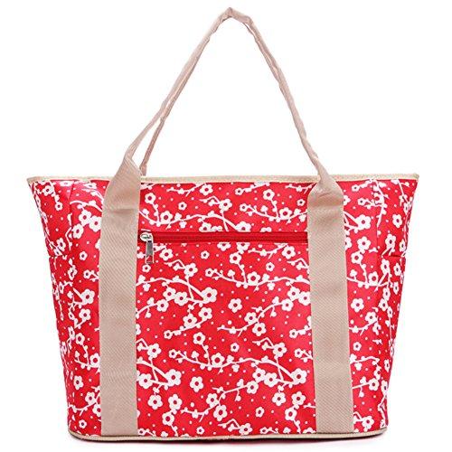 GSPStyle Damen Schultertasche Umhängetasche Multifunktions Handtasche Shopper Mutter-Kind-Paket Rot Blumen