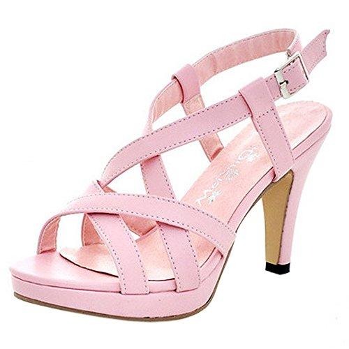 COOLCEPT Damen Mode-Event Gladiator Strappy Bootie Sandalen Stiletto Peep Toe Pink
