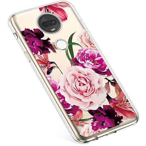 Uposao Kompatibel mit Moto G7 / Moto G7 Plus Hülle Crystal Case Schutzhülle Hülle mit Muster Motiv Transparent TPU Silikon Durchsichtig Stoßfest Handyhülle Backcover Tasche,Pink Roses