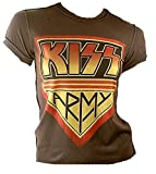 Amplified Damen Lady T-Shirt Stonewash Braun Chocolate Brown Official KISS ARMY Merchandise Hardrock Heavy Metal Special Edition ViP Rock Star Vintage Nähte Aussen Löcher Destroyed XS 34