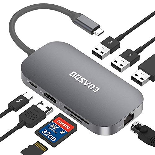EUASOO USB C Hub 9 Port Aluminium USB C Adapter mit 4K-HDMI, 2 USB 3.0 Ports, 1 USB 2.0 Port, Type C PD, Gigablit Ethernet RJ45, SD/TF-Kartenleser für MacBook Air/Pro, Chromebook, More Type C Geräte (Zwei-port Aluminium Usb-hub)