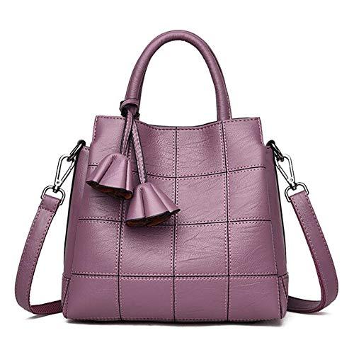 FANGDADAN Damen Umhängetaschen,Mode Top-Handle Taschen Handtaschen Aus Leder Frauen Tote Hochwertige Schulter Crossbody Bag Vintage Einfache Kuriertasche, Lavendel - Lavendel Vintage Handtasche