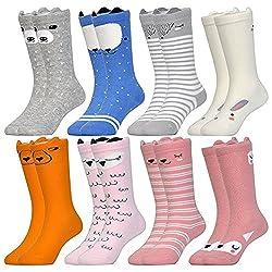Baby Toddler Girls Boys Cartoon Animal High Knee Socks Grip Sole Non-skid Leekey 10 Pairs Stocking