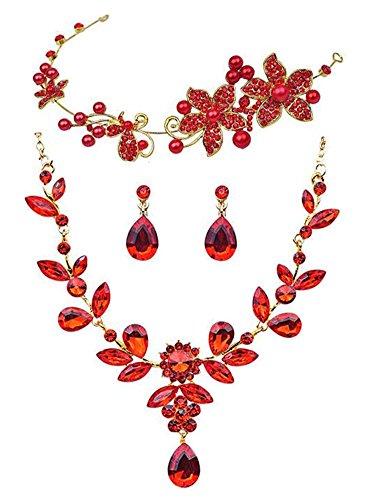 Braut Hochzeit Zubehör-Set Rote Haar-Band-Kette Ohrringe Set