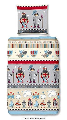 Aminata Kids - exklusive Jungen-Kinder-Bettwäsche 135x200 cm Ritter aus hochwertiger Baumwolle mit Reißverschluss grau