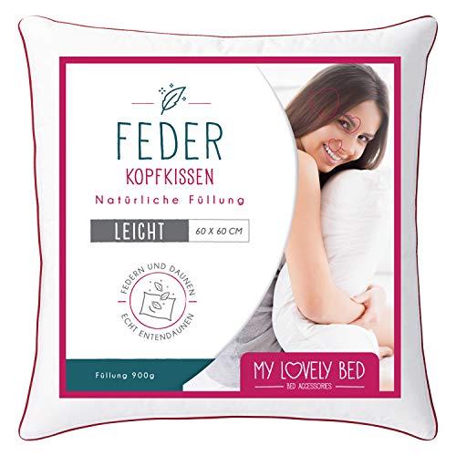 My Lovely Bed - Kopfkissen 60 x 60 cm Natur - Füllung Federn und Daunen - Bezug 100% Baumwolle - flauschig und flauschig - hohe Qualität - sehr komfortabel -