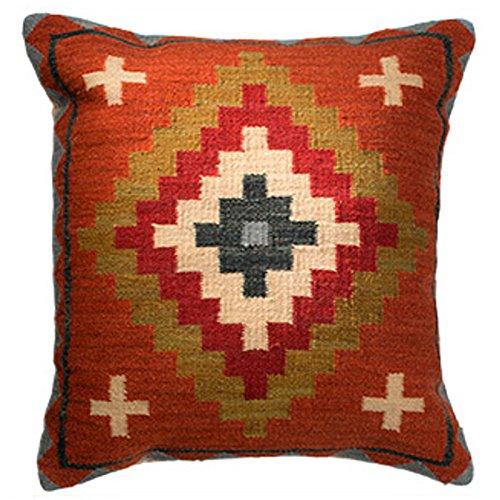 Fair Trade Kelim Kissen handgefertigt auf gewebt mit 80/20Wolle/Baumwolle und natürliche Farbstoffe Ladakh, Textil, blau, 60 x 60