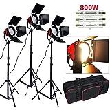 2400W 3200K Eclairage continu kit pour Studio/Vidéo photo à lumière douce--3*800W Ampoule halogène couleur d'éclairage jaune, 3*Projecteur mandarine ventilé dont la puissance et focalisation réglable, plus trépied support avec sac de transport photographie kit spécialement pour tournage