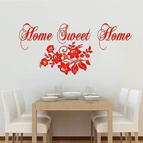 Casa dolce casa decalcomania della parete fiori modello baby nursery decorazione della parete del vinile muralewall sticker per camera dei bambini camera da letto wall art rosso 72 cm x 43 cm