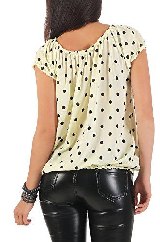Zarmexx Mesdames Chemisier à Manches Courtes Carmen Blouse Top Chemise Blouse D'Été Polka Dots (Taille Unique, 38-42) Jaune
