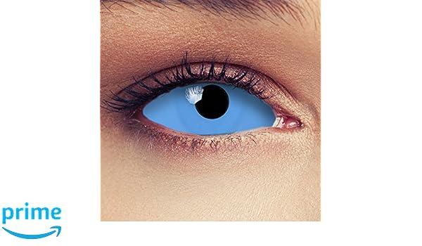 22mm Full Sclera lentilles de couleur bleu totalement sans correction pour  halloween sorcière costume + Récipient gratuit -