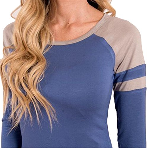 La Vogue T-Shirt Top Haut Blouson Manche Longue Classique Femme Grande Bleu