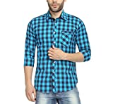 Wajbee Men's 100% Cotton Casual Shirt-M