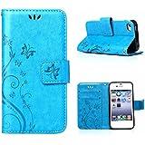MOONCASE iPhone SE Bookstyle Étui Fleur Housse en Cuir Case à rabat pour iPhone SE / 5S /5 Coque de protection Portefeuille TPU Case Bleu