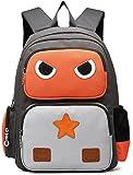 Honeymall Niedlich Roboter Kinderrucksack Canvas Grundschule Kindergartenrucksack Tasche Mädchen Jungen Babyrucksack Backpack für 5-10Jahre Alte Baby(Orange grau )