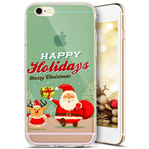 iPhone SE Hülle,iPhone 5S Hülle,iPhone 5 Hülle,SainCat iPhone SE/5S/5 Silikon Hülle Tasche Handyhülle Christmas Weihnachten Muster [Weihnachtsmann Wald] Schutzhülle Transparent TPU Gel Case Bumper Wei Weihnachtsmann