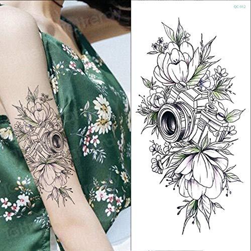 tzxdbh Skizze Blume Aufkleber Frauen temporäre Tätowierung Rose Pfingstrose Lotusblume Skizzen Tattoo Designs Kamera Dreieck