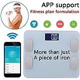 Amerzam Bluetooth Escala inalámbrico de peso corporal digital Prueba de la grasa & báscula electrónica/Pantalla LCD/ Smartphone Android iOS