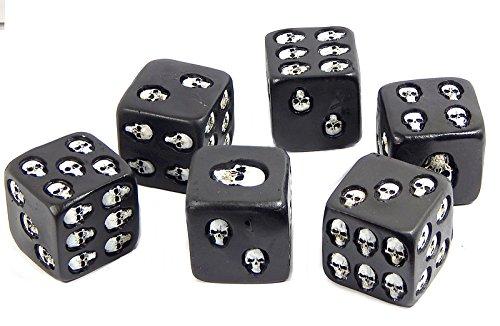 Bellaa Calavera Decorativo de Color Negro Dados Juego de 6Big 1,75'Pulgadas Cada