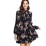 DIDK Damen Kleid Elegant Langarm Blumen Kleider Kurz Knielang Partykleid Casual für Herbst Frühling S