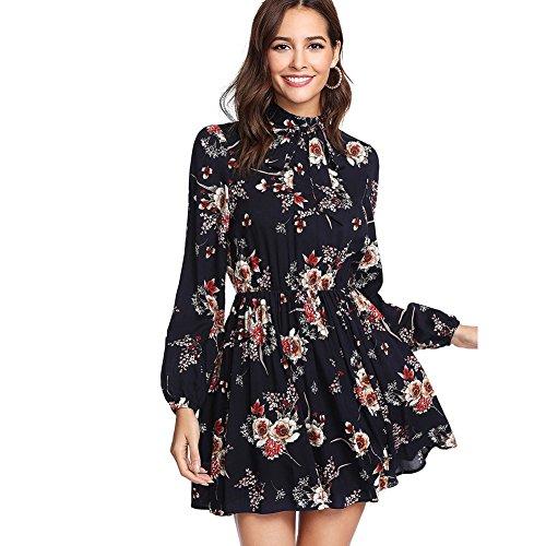 DIDK Damen Kleid Elegant Langarm Blumen Kleider Kurz Knielang Partykleid Casual für Herbst Frühling L