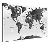 """LANA KK - Weltkarte Leinwandbild mit Korkrückwand zum pinnen der Reiseziele – """"Weltkarte SW Hell"""" - deutsch - Kunstdruck-Pinnwand Globus in weiß, einteilig & fertig gerahmt in 120x80cm"""