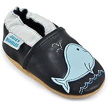 Juicy Bumbles - Zapatos de Bebé – Zapatillas de Niño Niña – Patucos de Piel con Elástico para Bebé - Zapatitos Primeros Pasos - Pantuflas Infantiles 0-6 Meses 6-12 Meses 12-18 Meses 18-24 Meses
