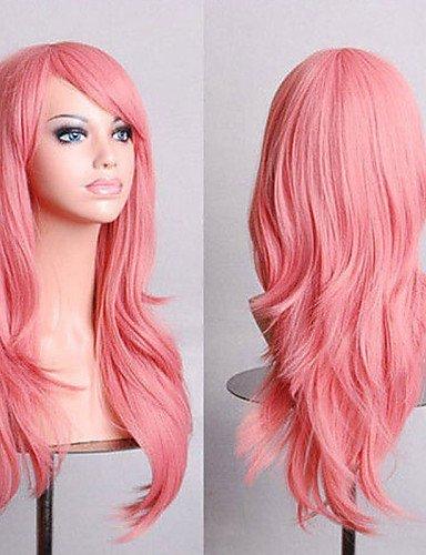 Perruque & xzl Perruques Fashion 70 cm de long volume d'air de cheveux roses de fumée haute température bouclés perruque de soie