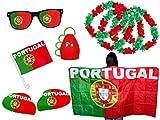 9 tlg. Alsino WM Fanpaket Portugal FP-10 Fanartikel Fussball Fanset Flaggenumhang Caxirola Brille