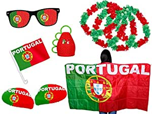 EM Fußball Fanpaket Portugal FP-10 Fanartikel Fanset Flaggenumhang Caxirola Brille von Alsino