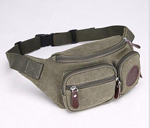 Zll/multifunzione tasca sul petto Uomo Casual Tela Borsa a tracolla Fashion femmina esterno tasca per cellulare, marrone Verde militare