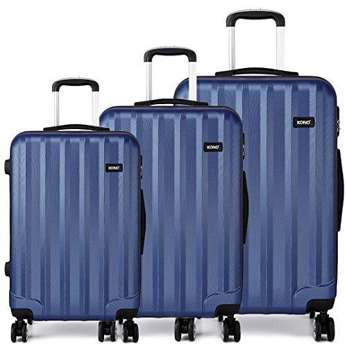 Kono Set de 3 valises de Voyage de PC  avec Serrure à Combinaison  poignée télescopique   roulettes 360° - diverses Couleurs au Choix