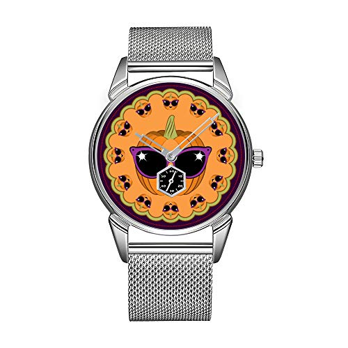 Mode herrenuhr Silber Edelstahl wasserdicht Uhr männer top Marke herrenuhr Uhr kühlen kürbis tragen Retro Katze Sonnenbrille armbanduhren