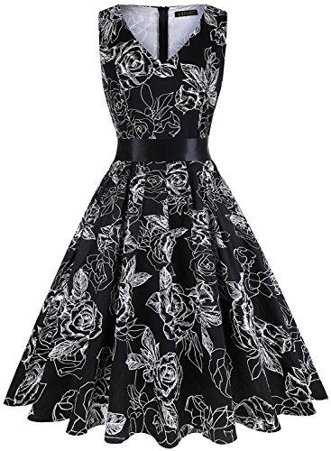 (IHOT Elegant Damen 1950er Retro Vintage Floral Party Cocktailkleider Abendkleider Sommerkleid Knielang (S, Schwarz Rose))