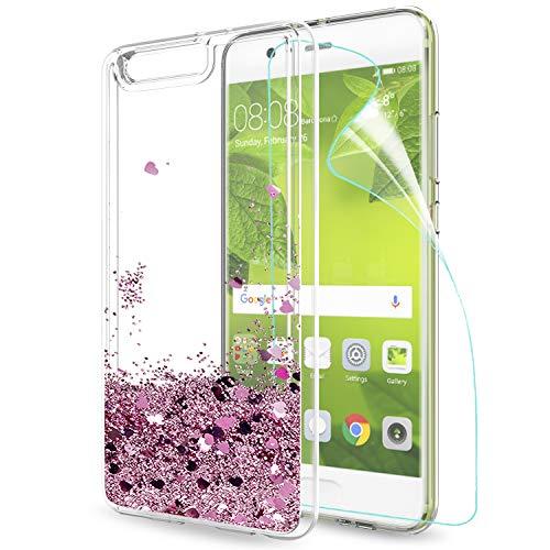 LeYi Hülle Huawei P10 Plus Glitzer Handyhülle mit HD Folie Schutzfolie,Cover TPU Bumper Silikon Flüssigkeit Treibsand Clear Schutzhülle für Case HHuawei P10 Plus Handy Hüllen ZX Rot Rosegold