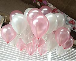 BALLOON JUNCTION Themez only PINK & WHITE Metallic Birthday Party Balloons - Pack of 50