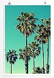 Sinus Art Kunst und Deko Poster - Naturfotografie – Palmen Santa Monica Beach USA- Fotodruck in gestochen scharfer Qualität