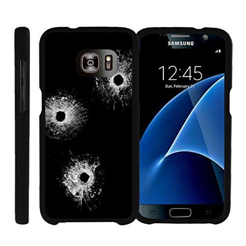 Matt miniturtle Fall Kompatibel w/Samsung Galaxy S7[Snap Shell Serie] Slim Fit Hard Case [Schwarz Matt], Bullet Holes Case Cover Hunter-serie