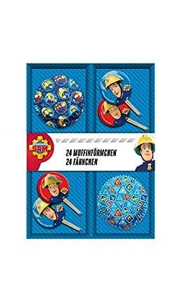 Feuerwehrmann Sam 48 teiliges Muffin Backset im Geschenkkarton mit Fähnchen und Muffinförmchen