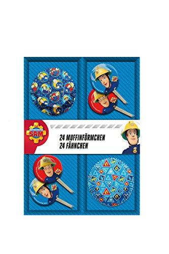 Feuerwehrmann Sam 48 teiliges Muffin Backset im Geschenkkarton mit Fähnchen und (Kostüm Thema Party P)