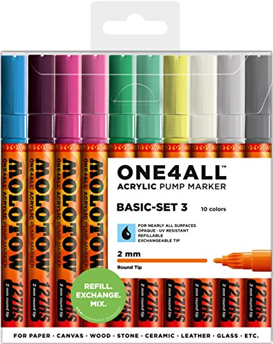 Molotow Acryl Marker One4All 127HS (Basic-Set 3 mit 10 kräftigen Acrylfarben, 2mm Spitze, hochdeckend und permanent, UV-Beständig, für fast alle Untergründe) -